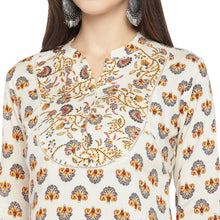 Load image into Gallery viewer, White & Yellow Printed A-Line Kurta-5