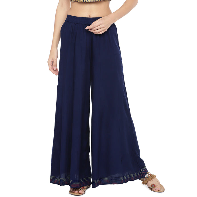 Navy Blue Solid Flared Palazzos-1