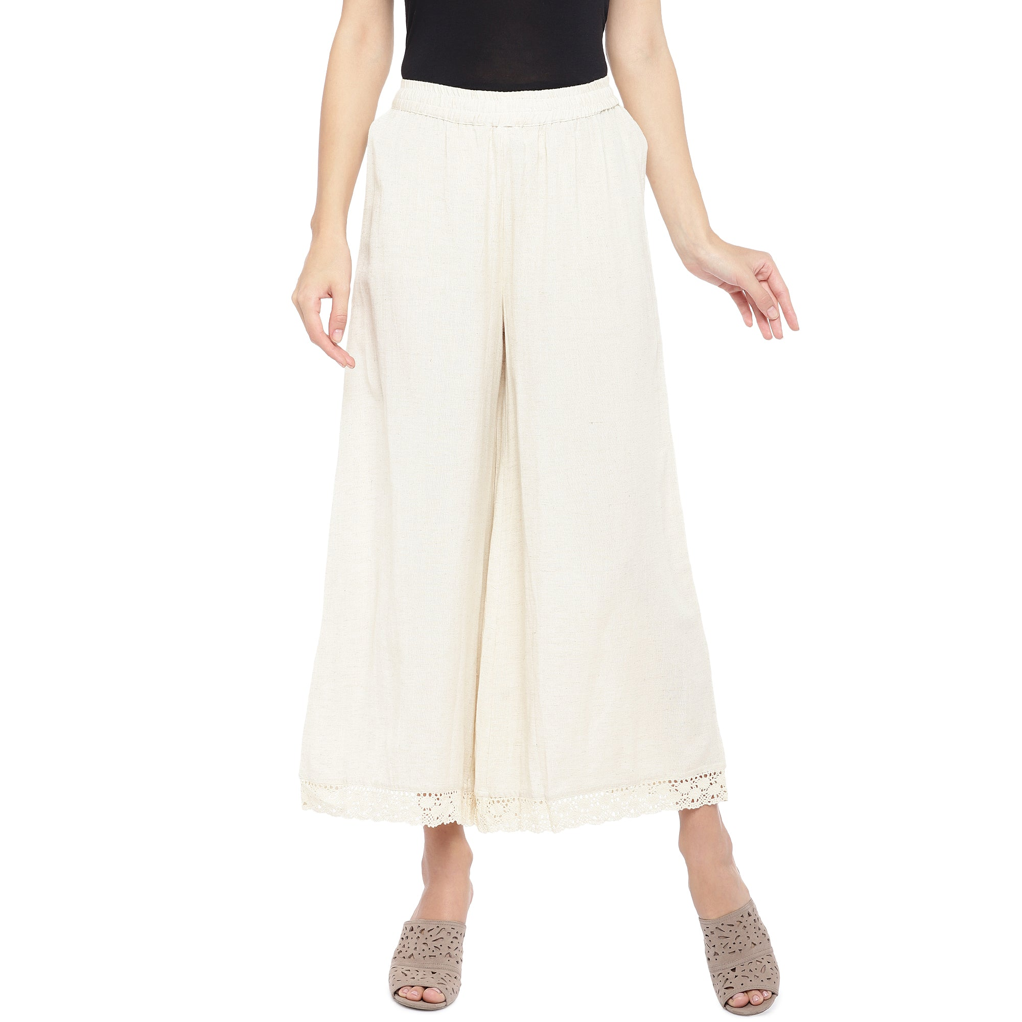 White Solid Straight Palazzos-1