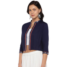 Load image into Gallery viewer, Navy Blue Embellished Open Front Shrug-2