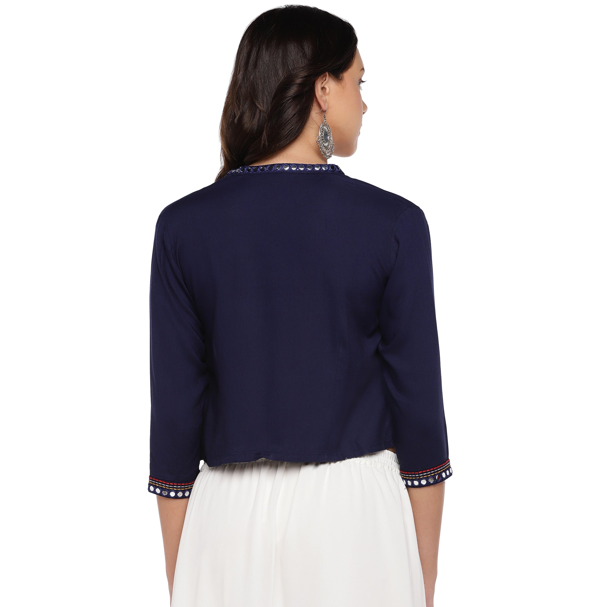 Navy Blue Embellished Open Front Shrug-3