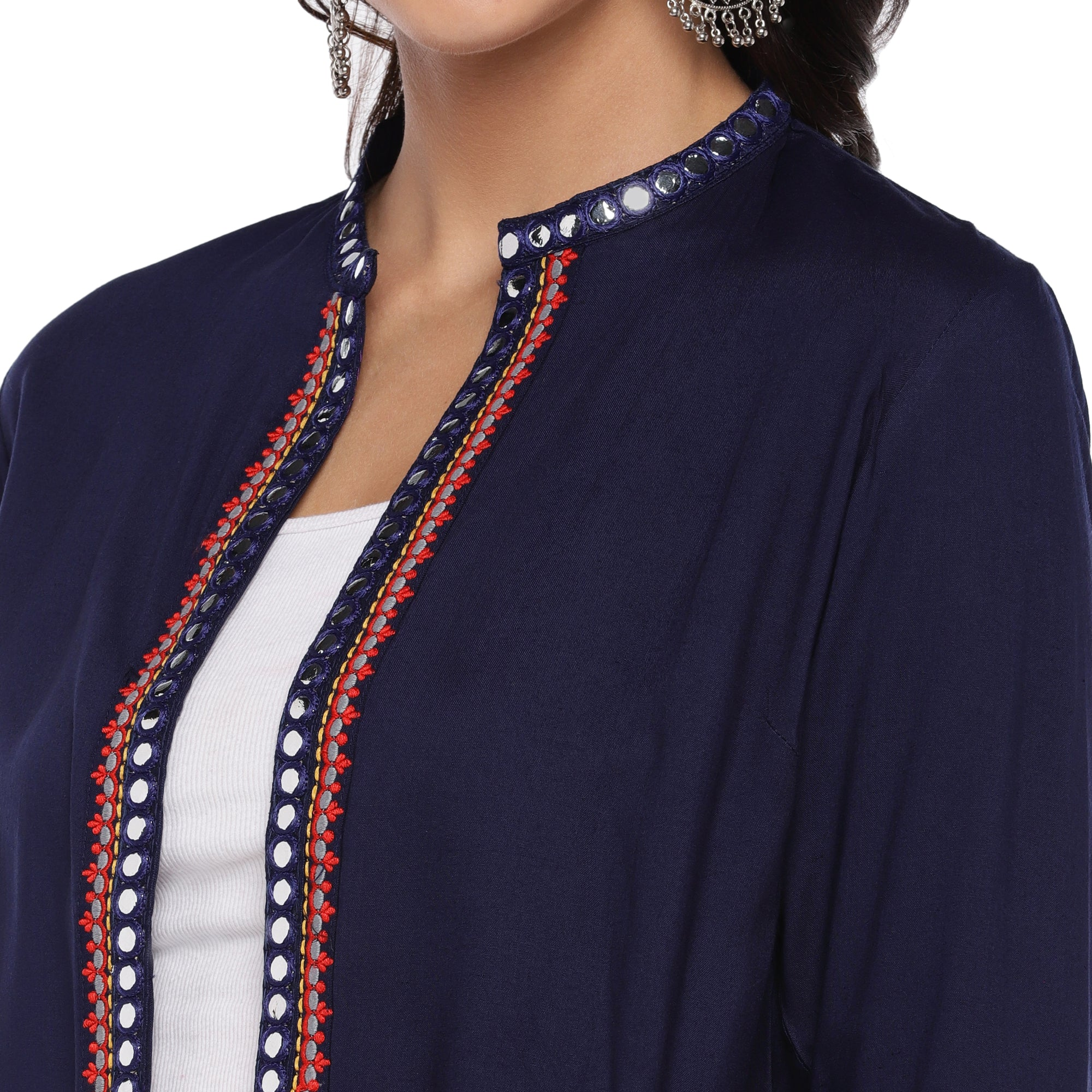 Navy Blue Embellished Open Front Shrug-5