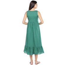 Load image into Gallery viewer, Teal Solid A-Line Dress-3