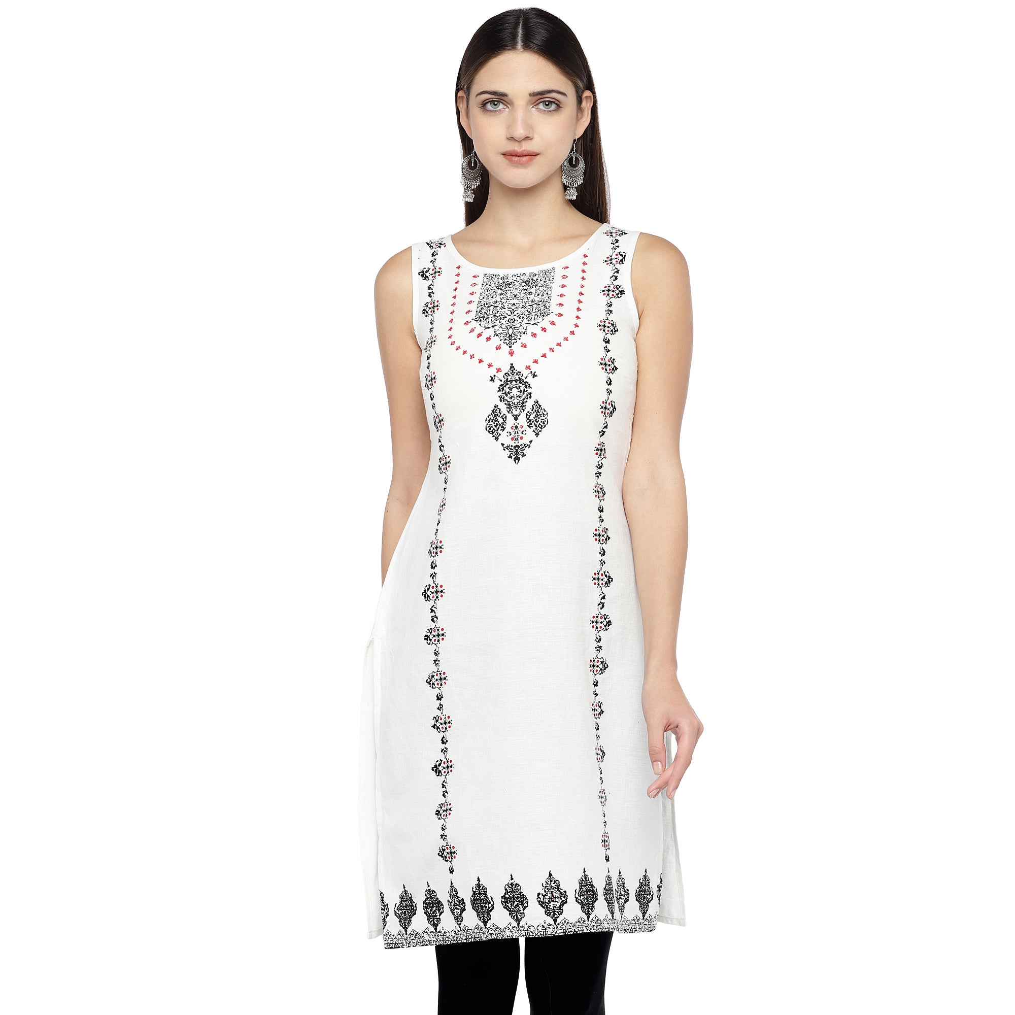 White & Black Printed Straight Kurta-1
