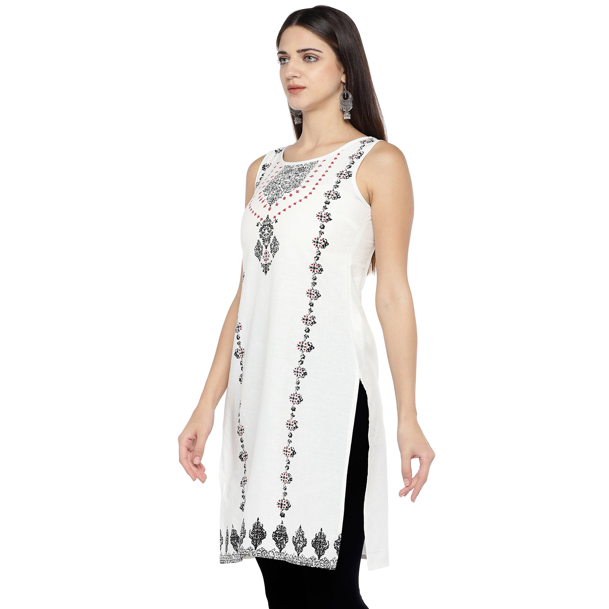 White & Black Printed Straight Kurta-2