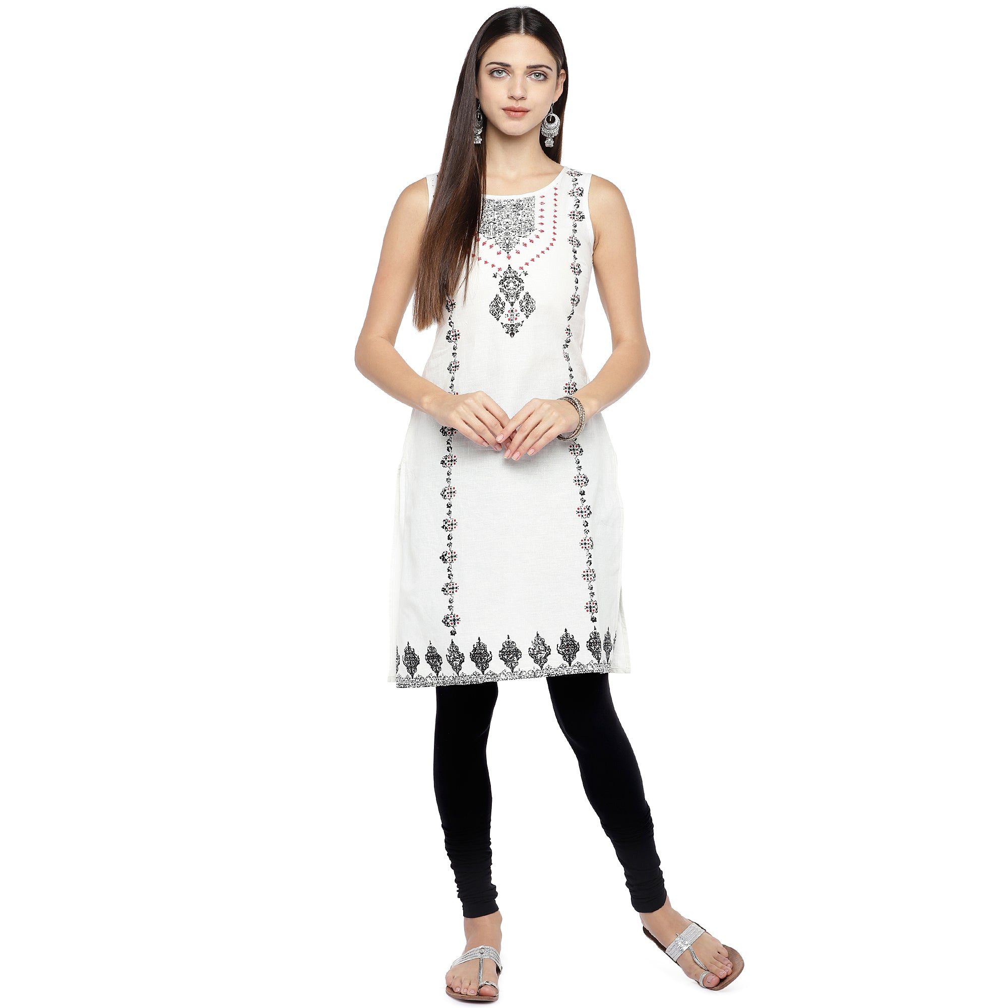 White & Black Printed Straight Kurta-4