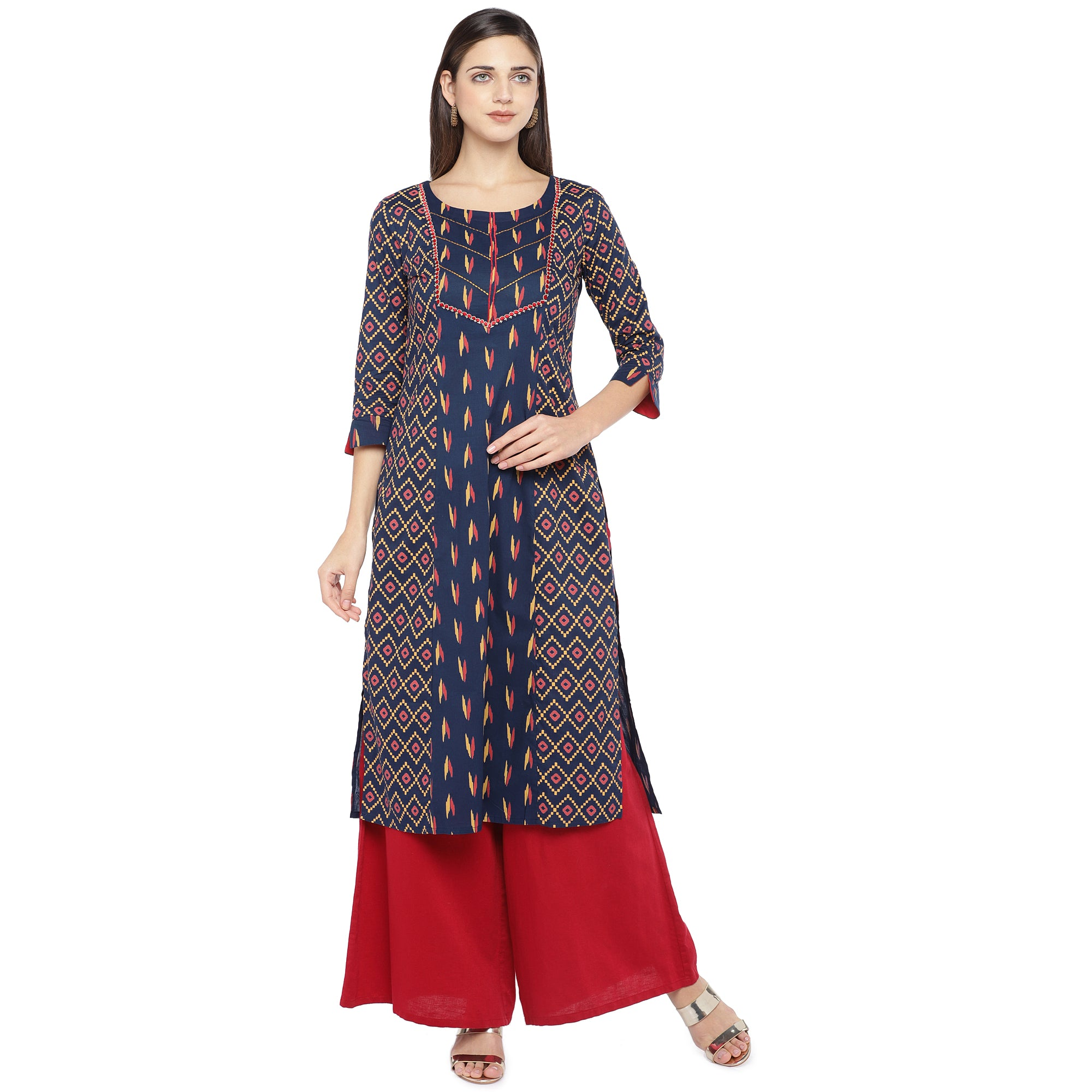 Navy Blue & Pink Printed Straight Kurta-1