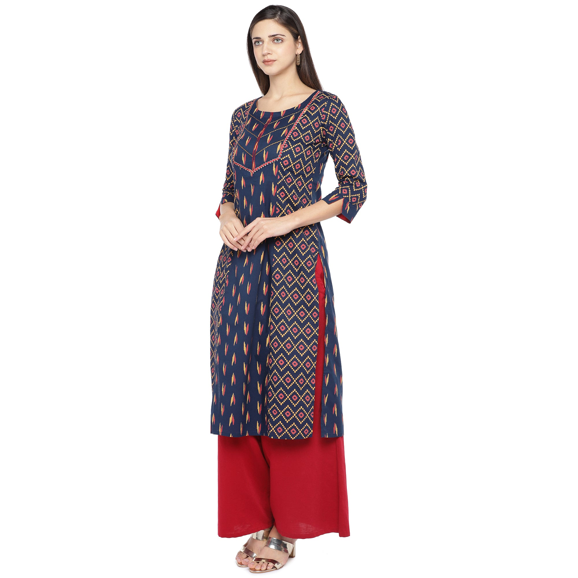 Navy Blue & Pink Printed Straight Kurta-2