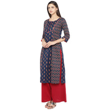 Load image into Gallery viewer, Navy Blue & Pink Printed Straight Kurta-2