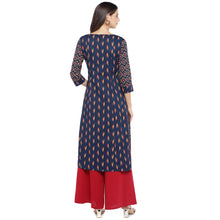 Load image into Gallery viewer, Navy Blue & Pink Printed Straight Kurta-3