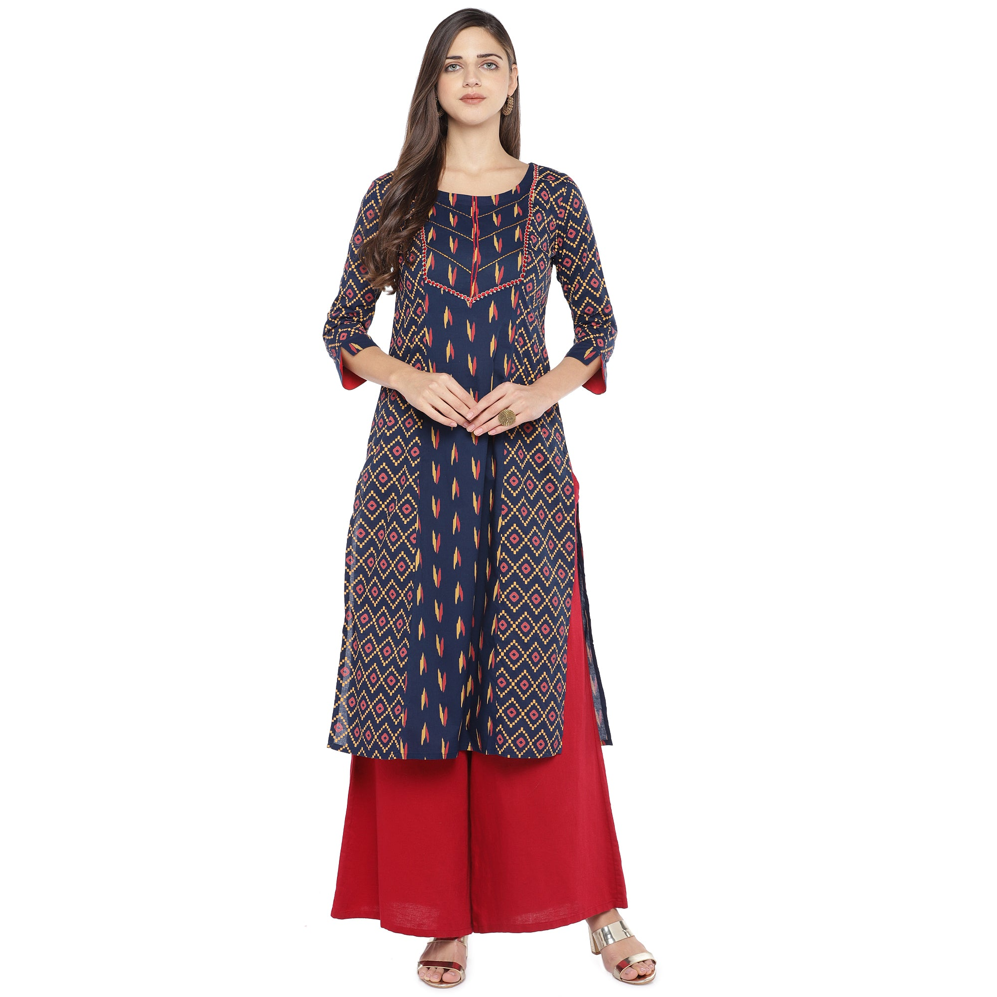 Navy Blue & Pink Printed Straight Kurta-4