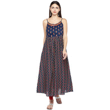 Load image into Gallery viewer, Blue Printed A-Line Kurta-1