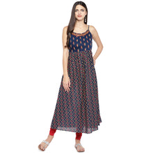 Load image into Gallery viewer, Blue Printed A-Line Kurta-4
