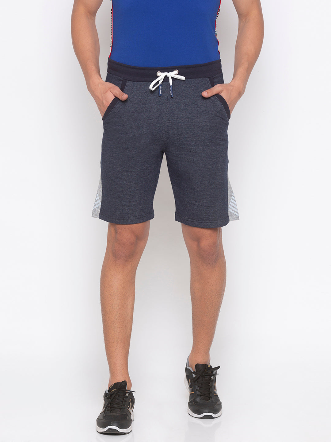Navy Solid Shorts-1
