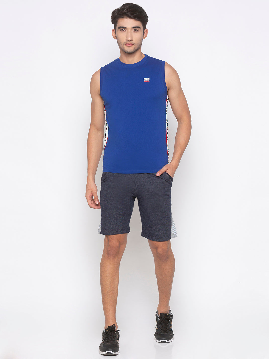 Navy Solid Shorts-4