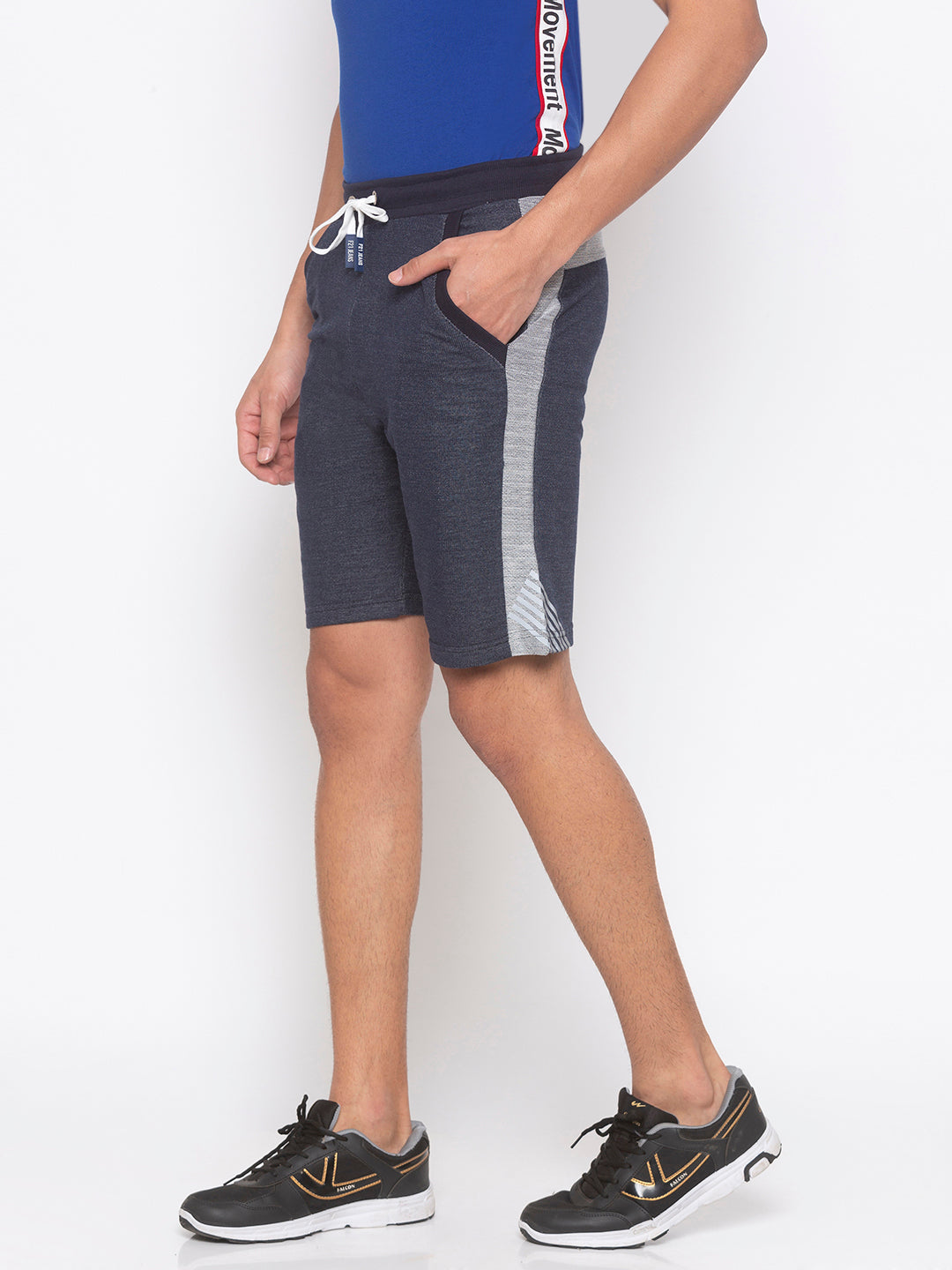 Navy Solid Shorts-2