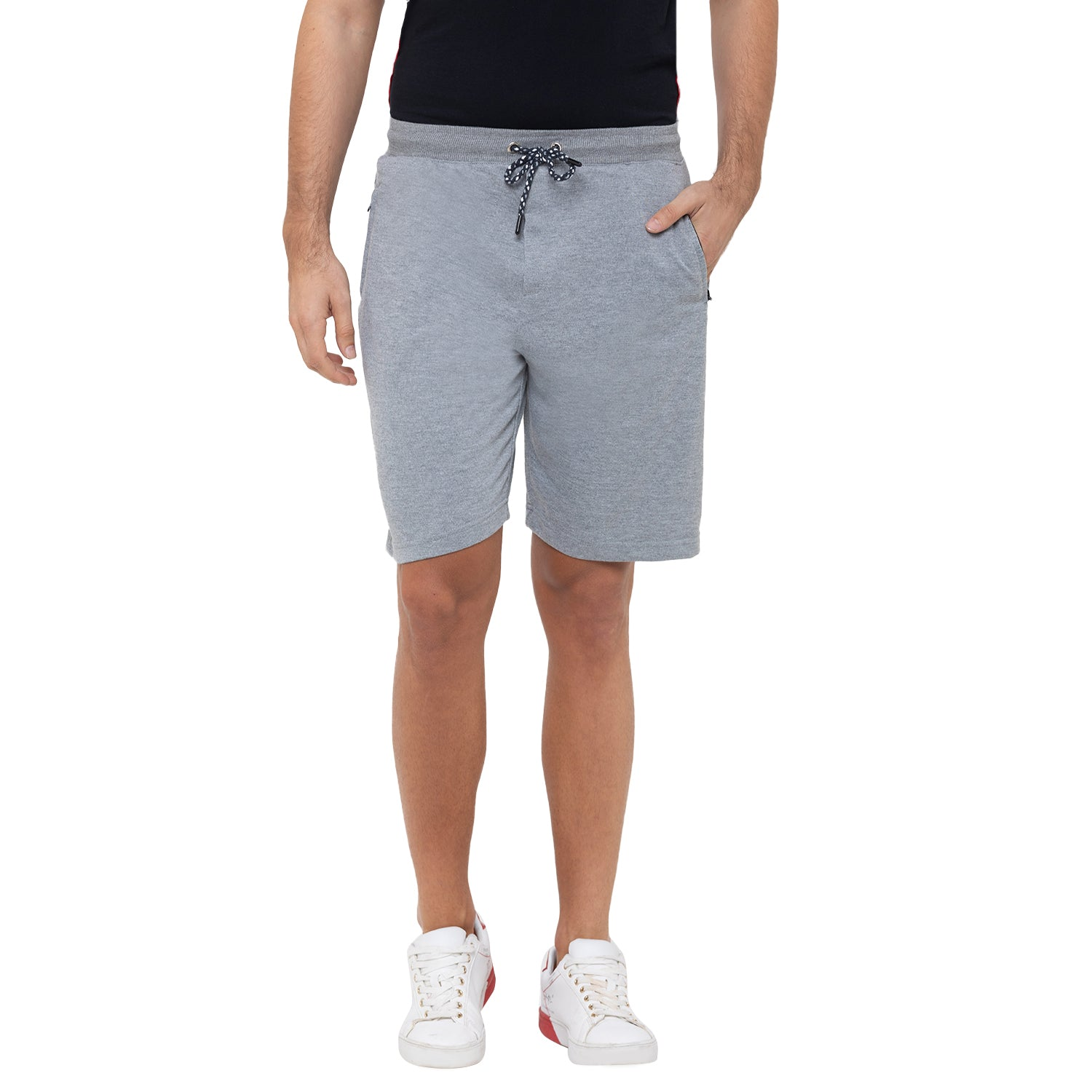 Globus Grey Solid Shorts-1