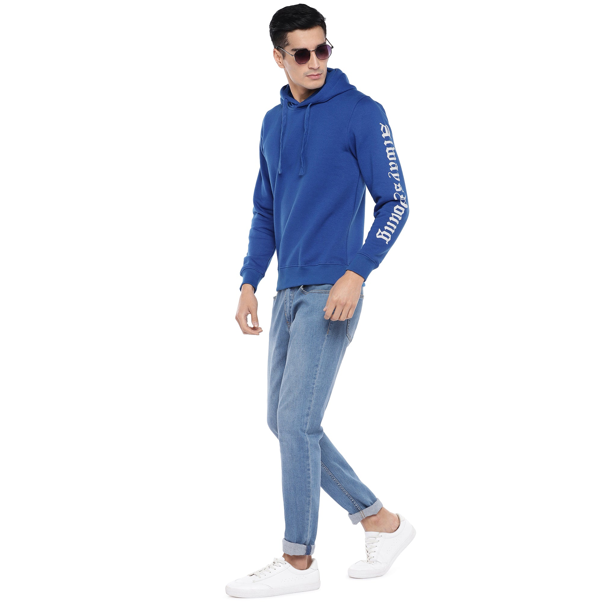 Blue Solid Sweatshirt-4