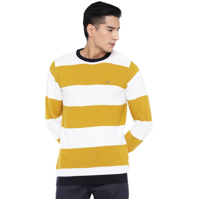 Mustard & White Striped Sweatshirt-1