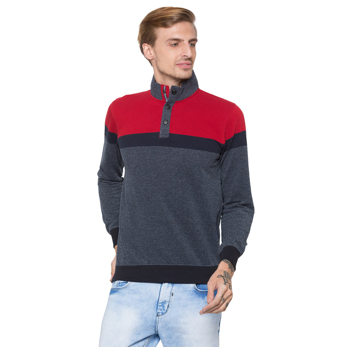 Globus Grey & Red Colourblocked Sweatshirt-1