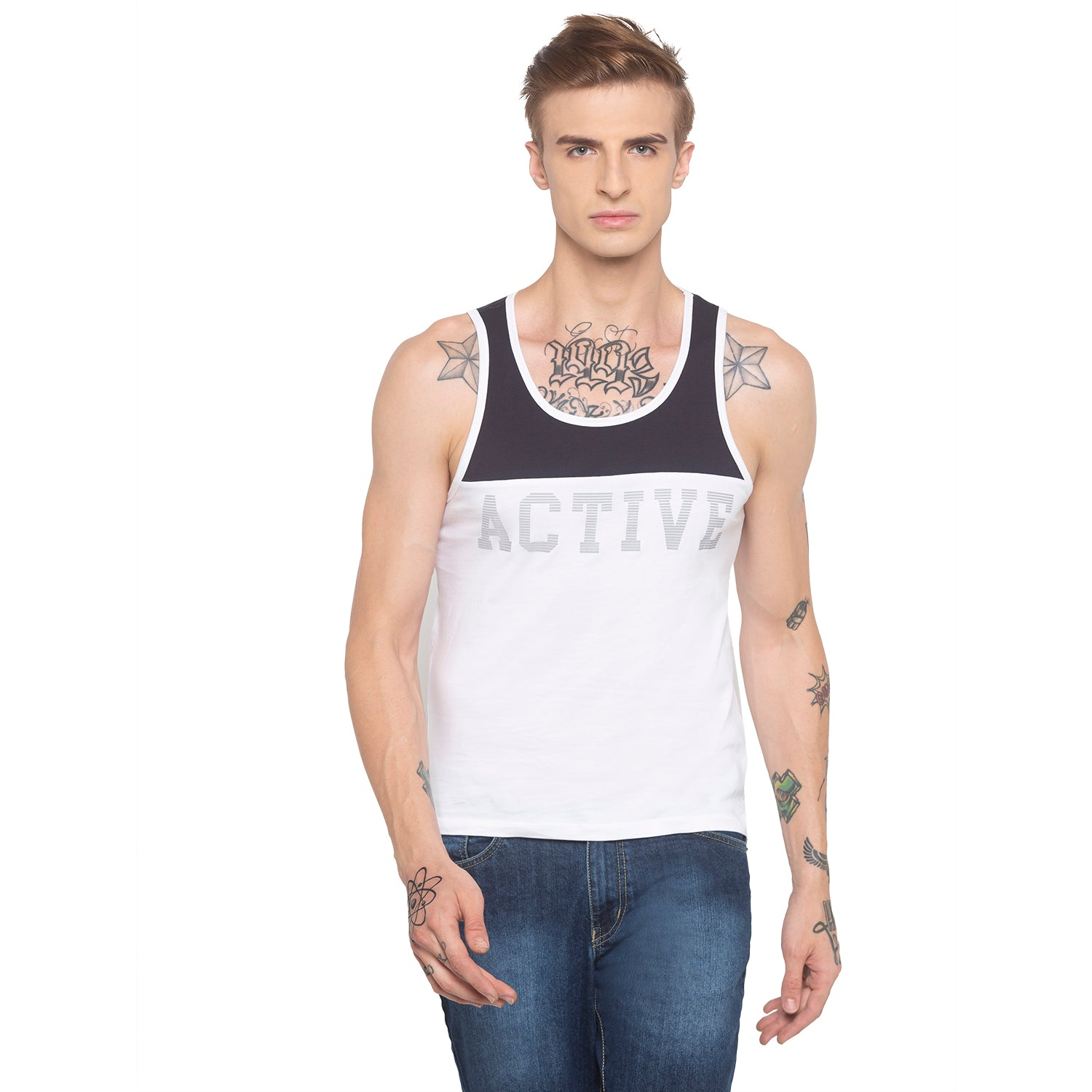 Racerback Sleeveless White T-shirt-1