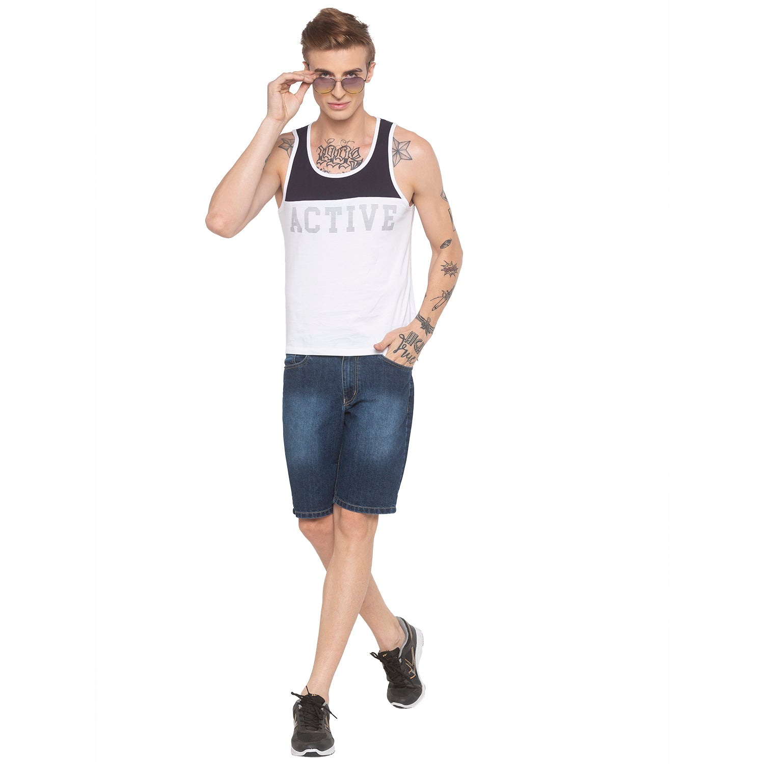 Racerback Sleeveless White T-shirt-4