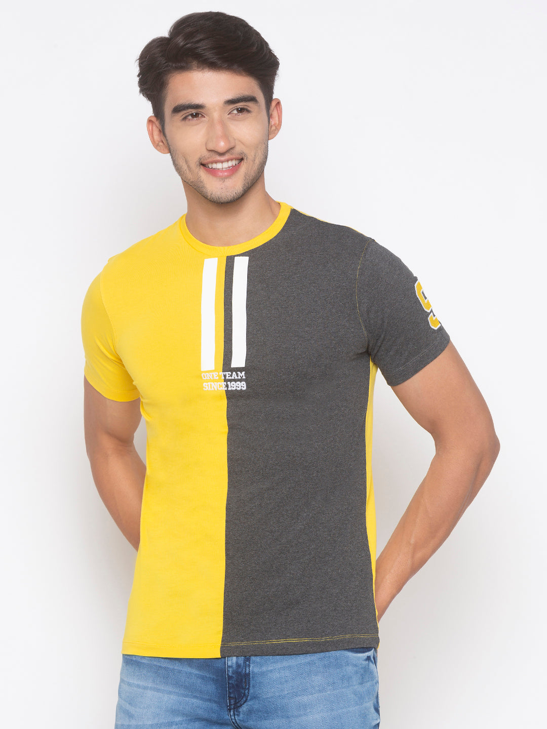 Globus Yellow & Grey Color Block T-Shirt-1