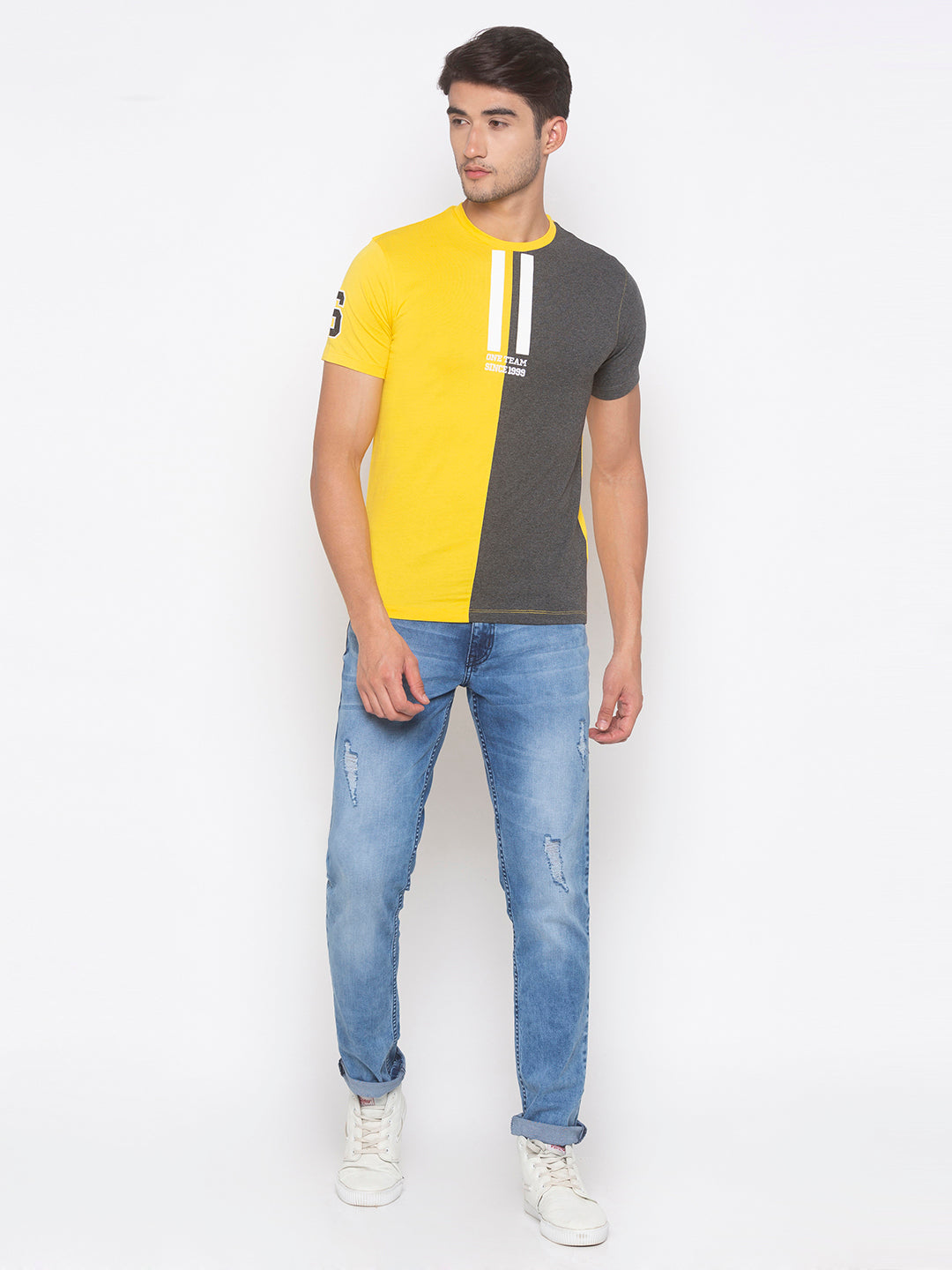 Globus Yellow & Grey Color Block T-Shirt-4