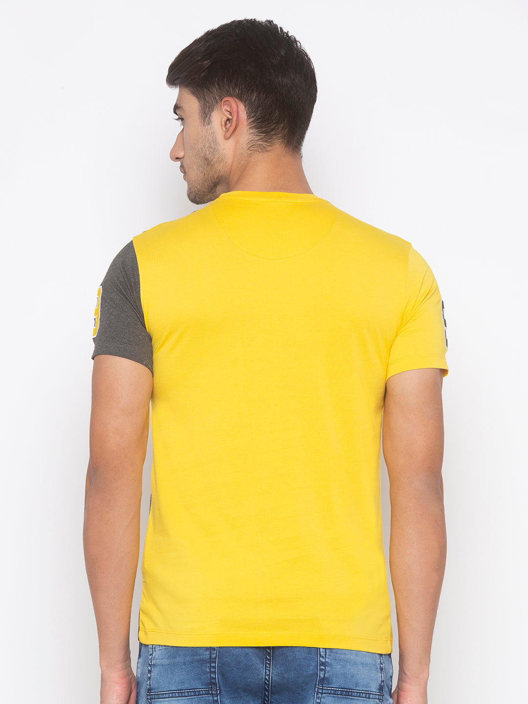 Globus Yellow & Grey Color Block T-Shirt-3