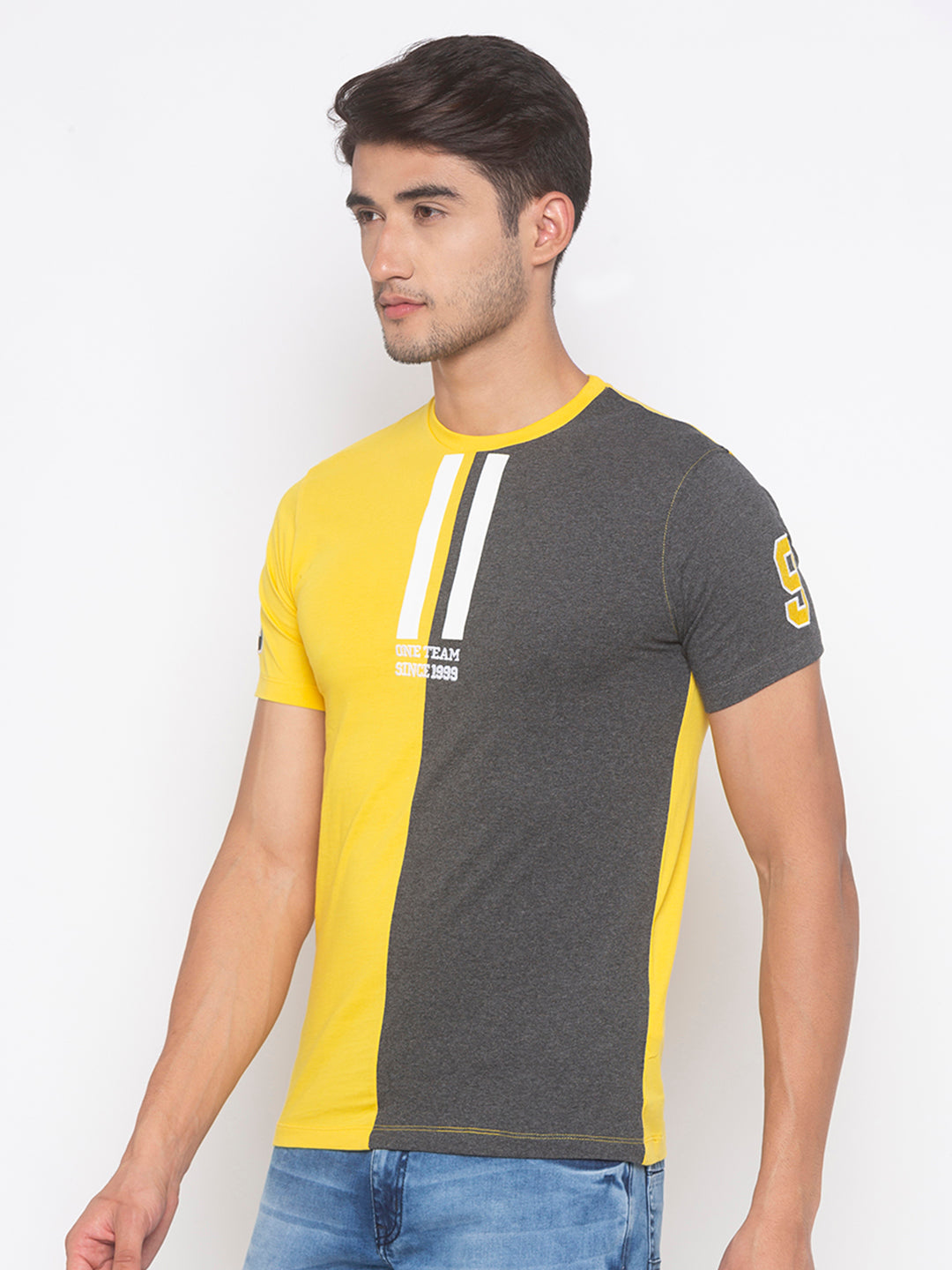 Globus Yellow & Grey Color Block T-Shirt-2