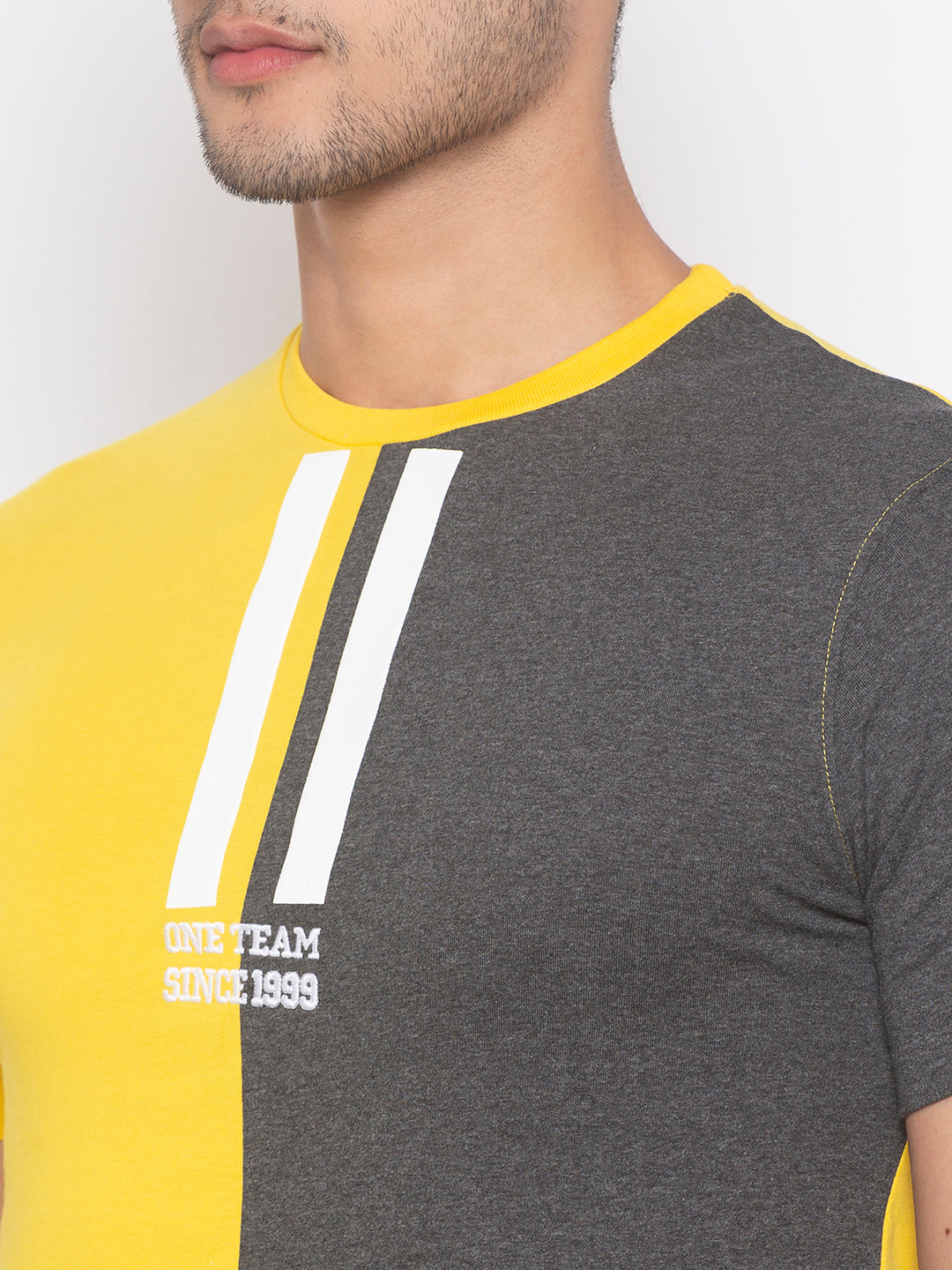 Globus Yellow & Grey Color Block T-Shirt-5