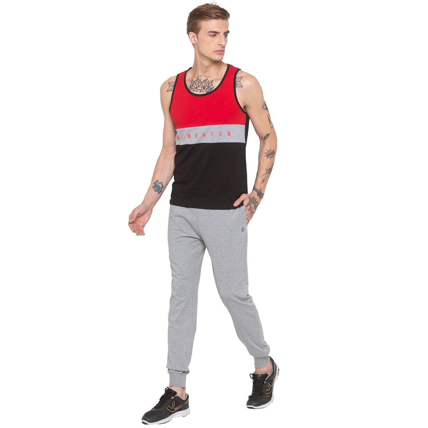 Colorblocked Sleeveless Red T-shirt-4