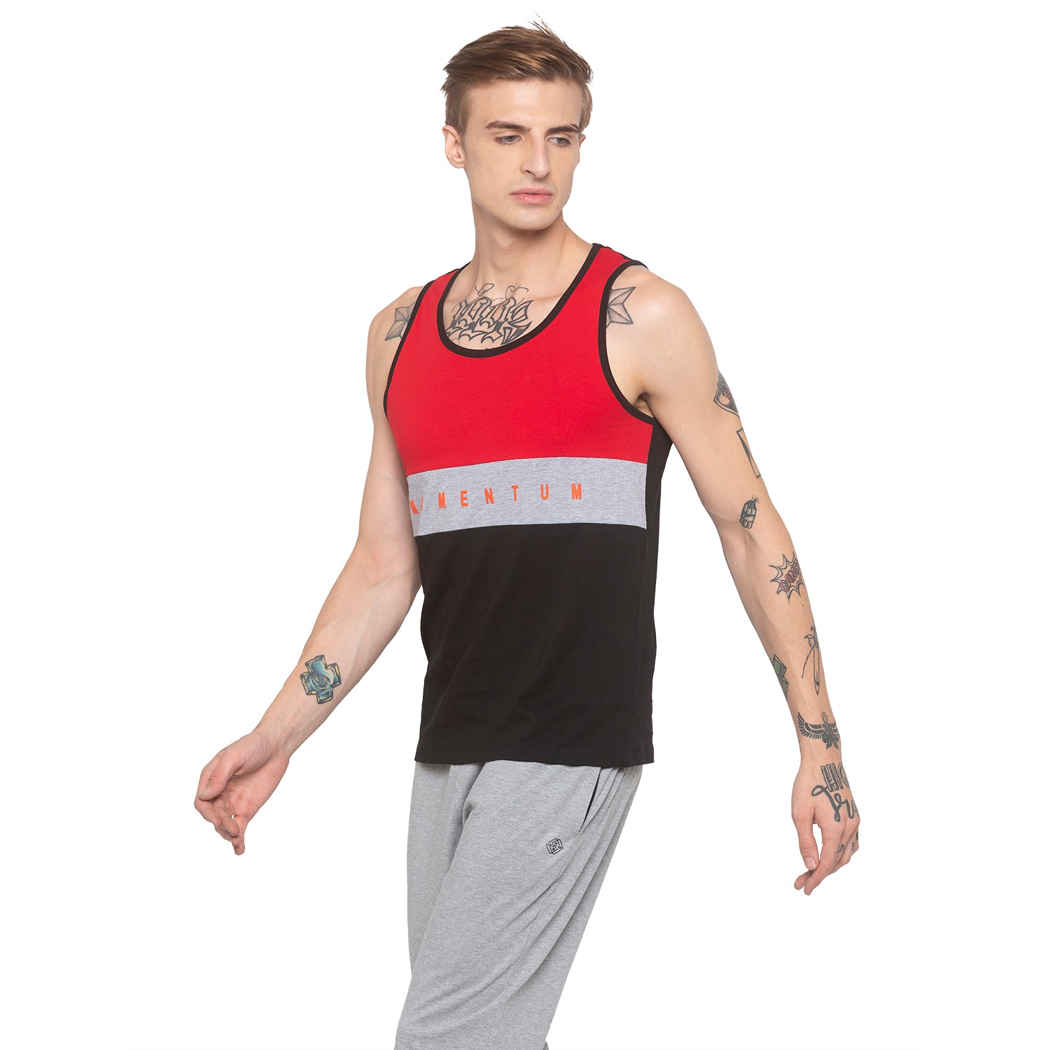 Colorblocked Sleeveless Red T-shirt-2