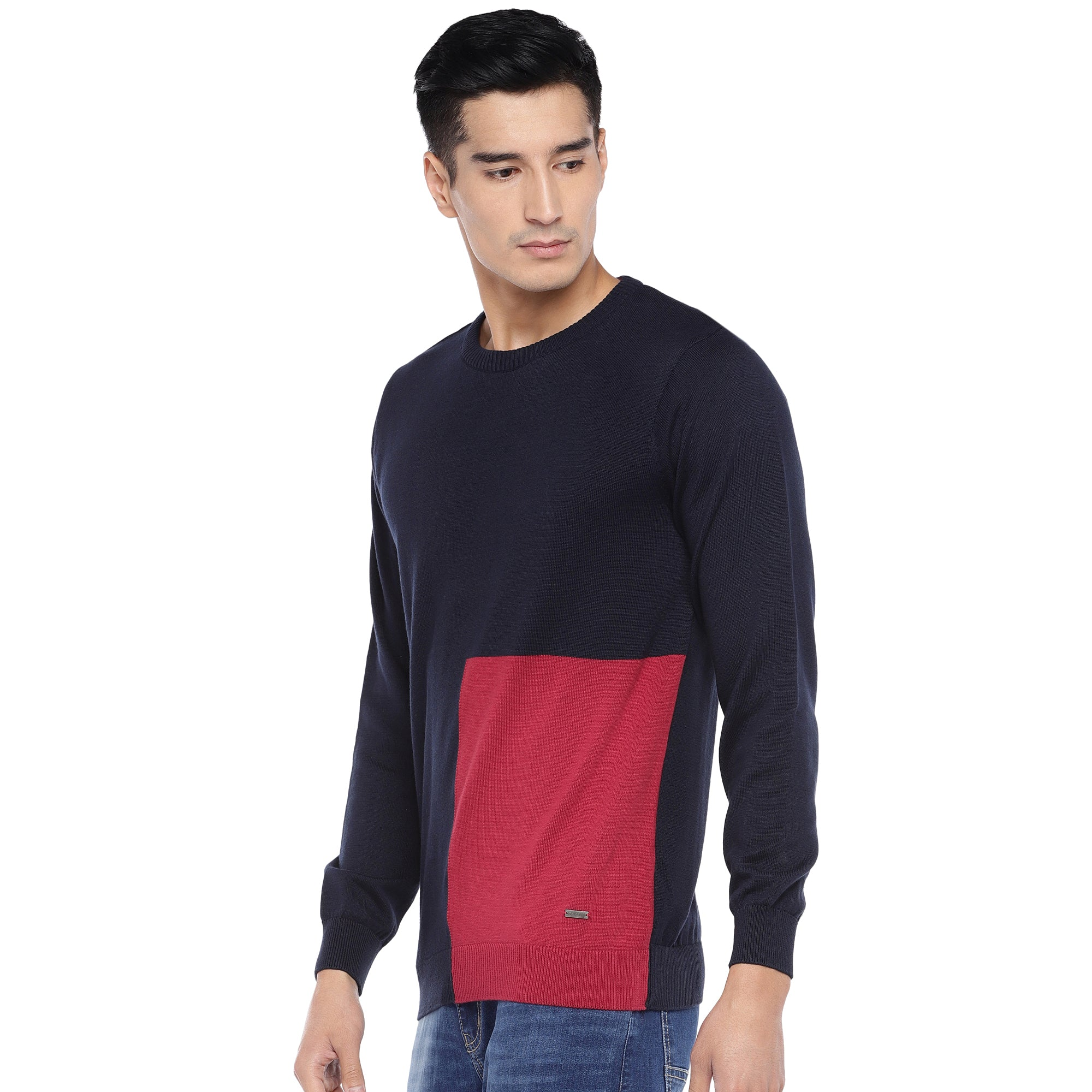 Navy Blue & Red Colourblocked Sweatshirt-2