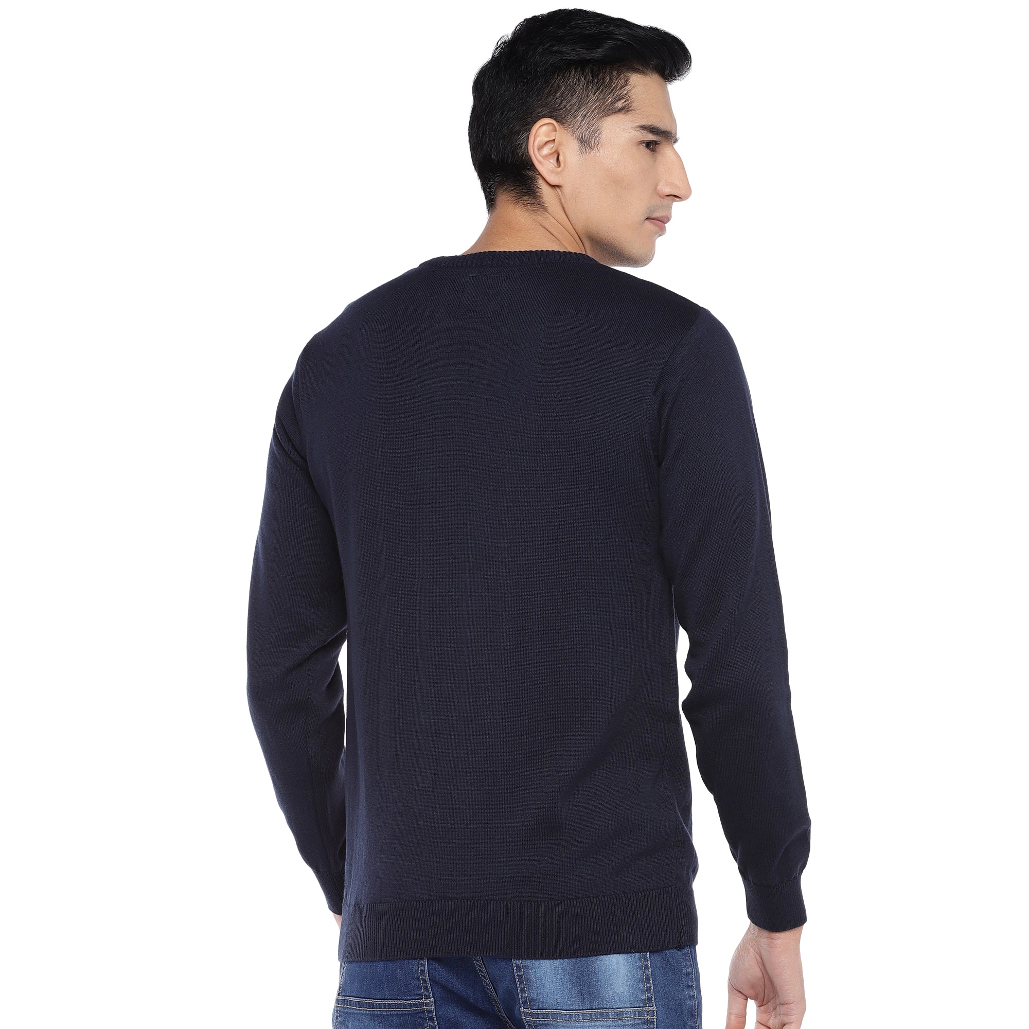 Navy Blue & Red Colourblocked Sweatshirt-3