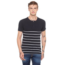 Load image into Gallery viewer, Henley Neck Striped Navy Blue T-shirt-1