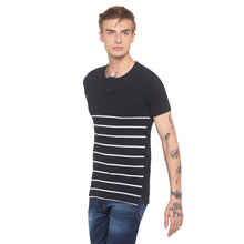 Load image into Gallery viewer, Henley Neck Striped Navy Blue T-shirt-2