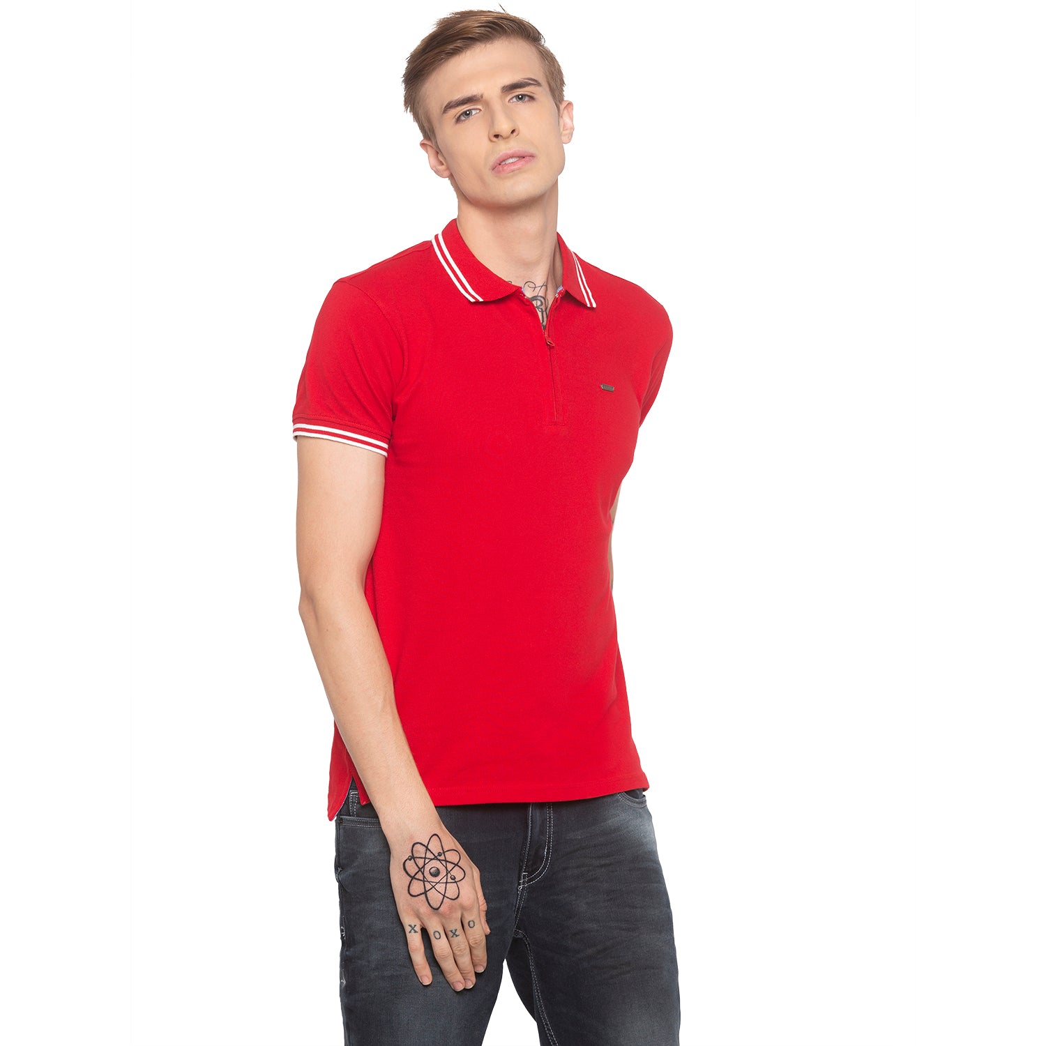 Zipper Polo Neck Solid Red T-shirt-1
