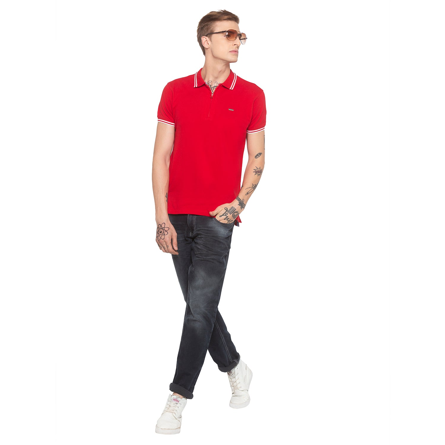Zipper Polo Neck Solid Red T-shirt-4