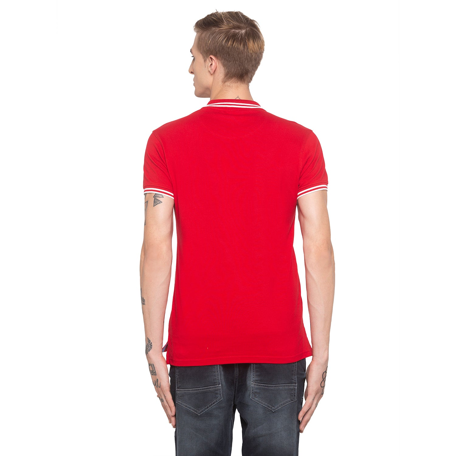 Zipper Polo Neck Solid Red T-shirt-3