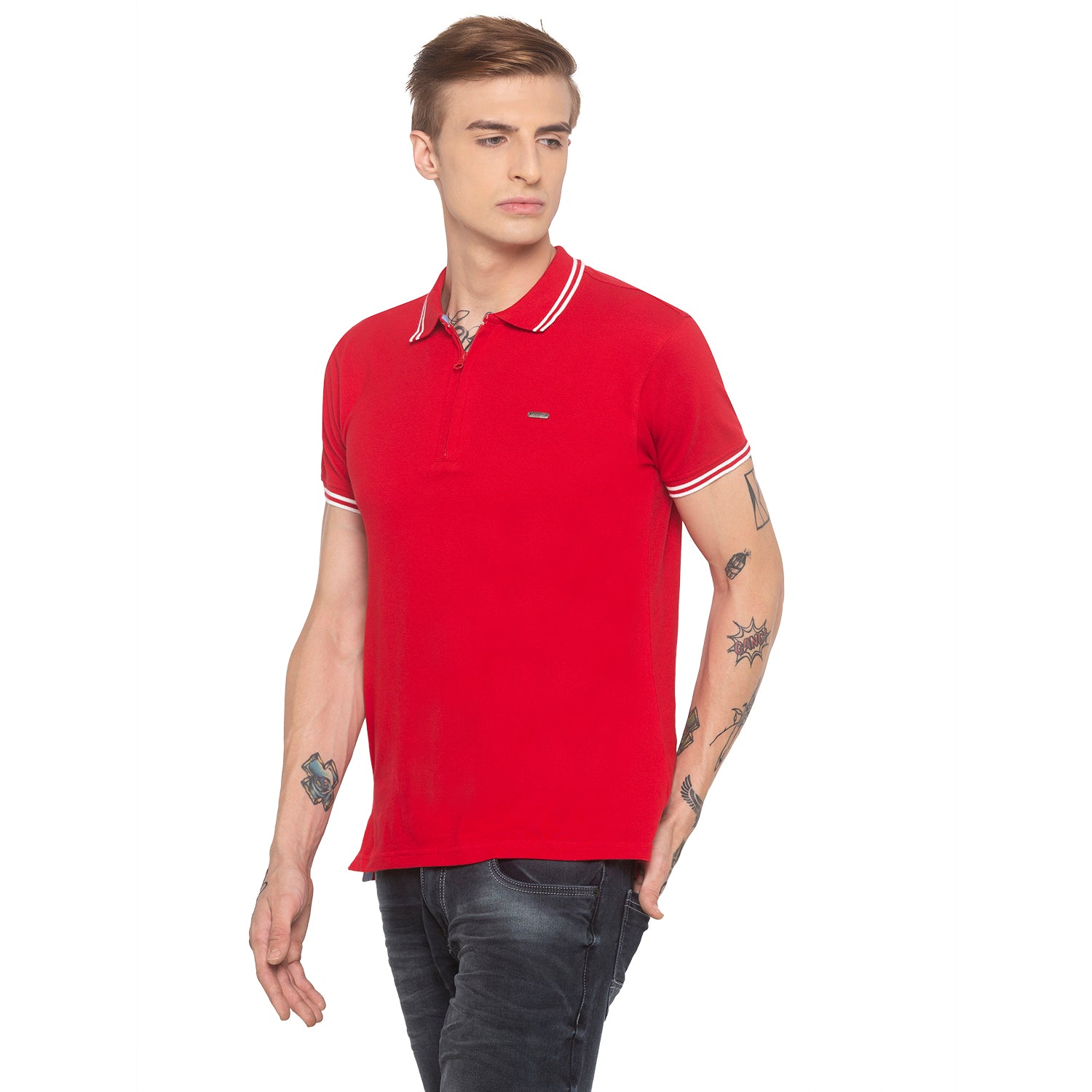 Zipper Polo Neck Solid Red T-shirt-2