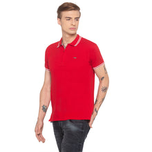 Load image into Gallery viewer, Zipper Polo Neck Solid Red T-shirt-2