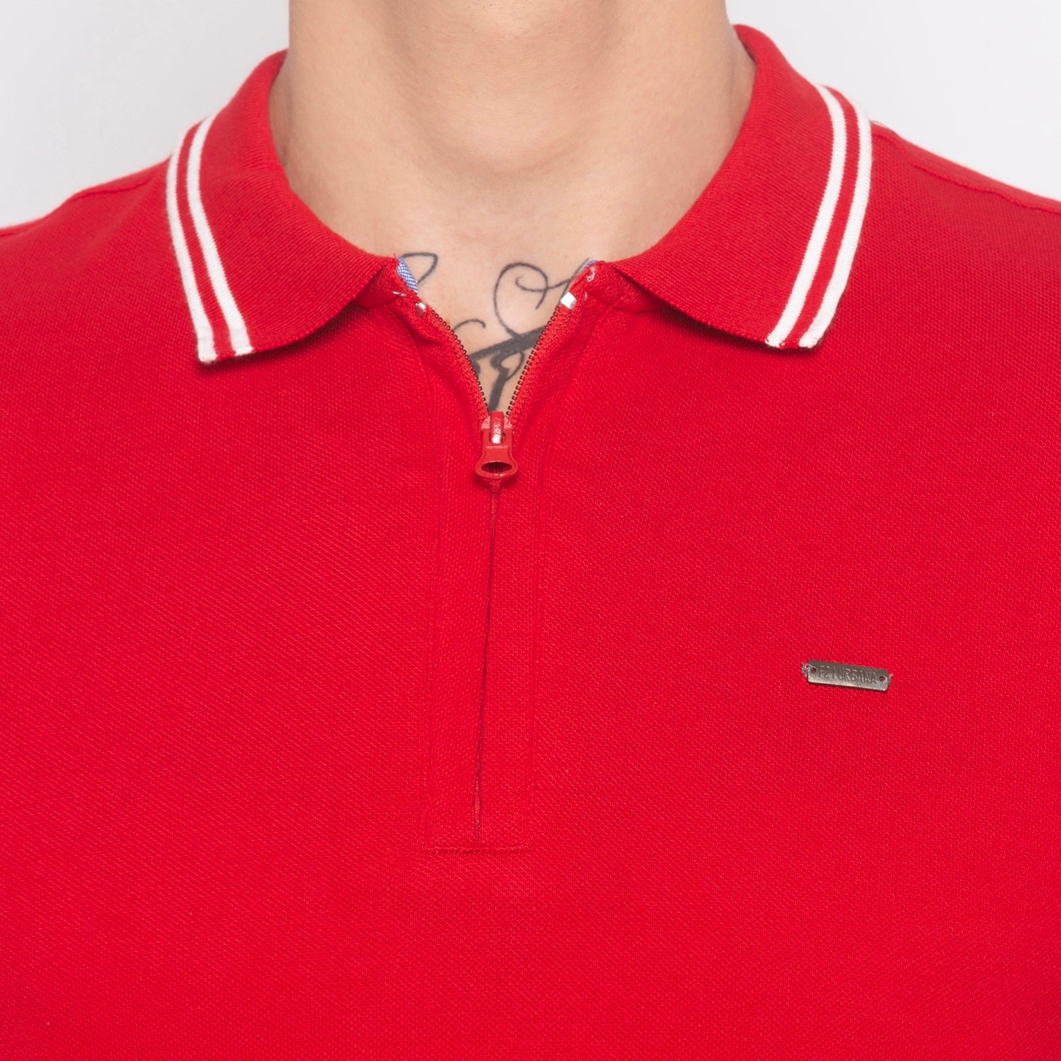 Zipper Polo Neck Solid Red T-shirt-5