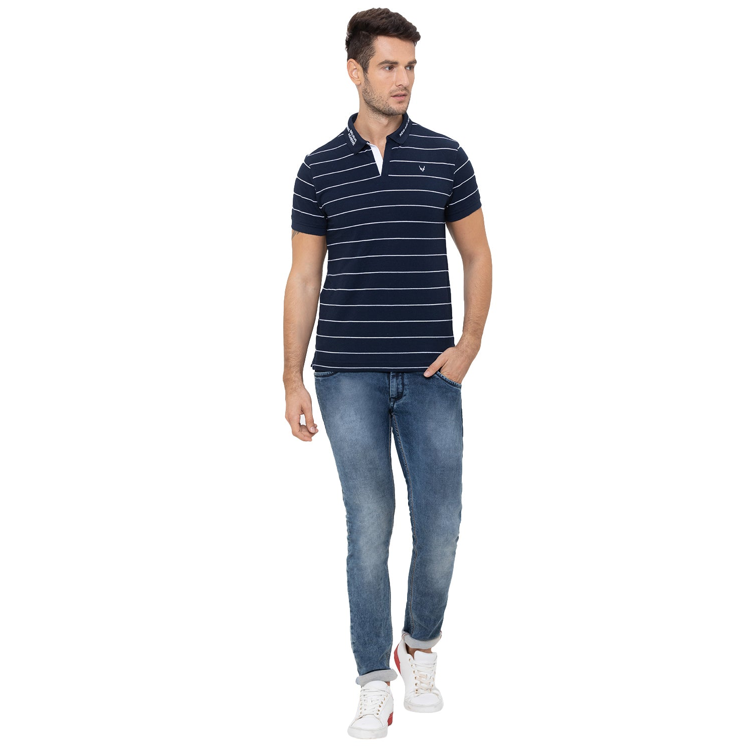 Globus Navy Blue Striped Polo T-Shirt-2