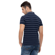 Load image into Gallery viewer, Globus Navy Blue Striped Polo T-Shirt-3