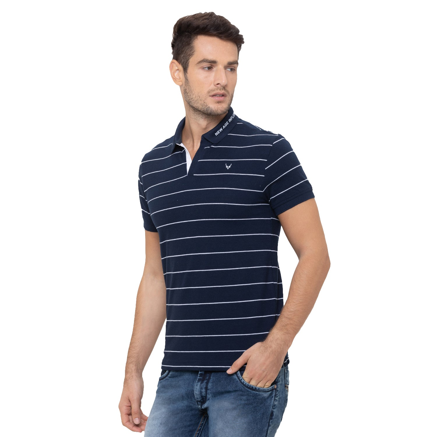 Globus Navy Blue Striped Polo T-Shirt-4