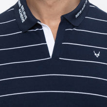 Load image into Gallery viewer, Globus Navy Blue Striped Polo T-Shirt-5