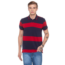 Load image into Gallery viewer, Striped Polo Collar Navy Blue T-shirt-1