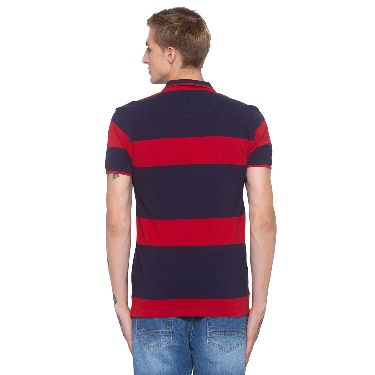 Striped Polo Collar Navy Blue T-shirt-3