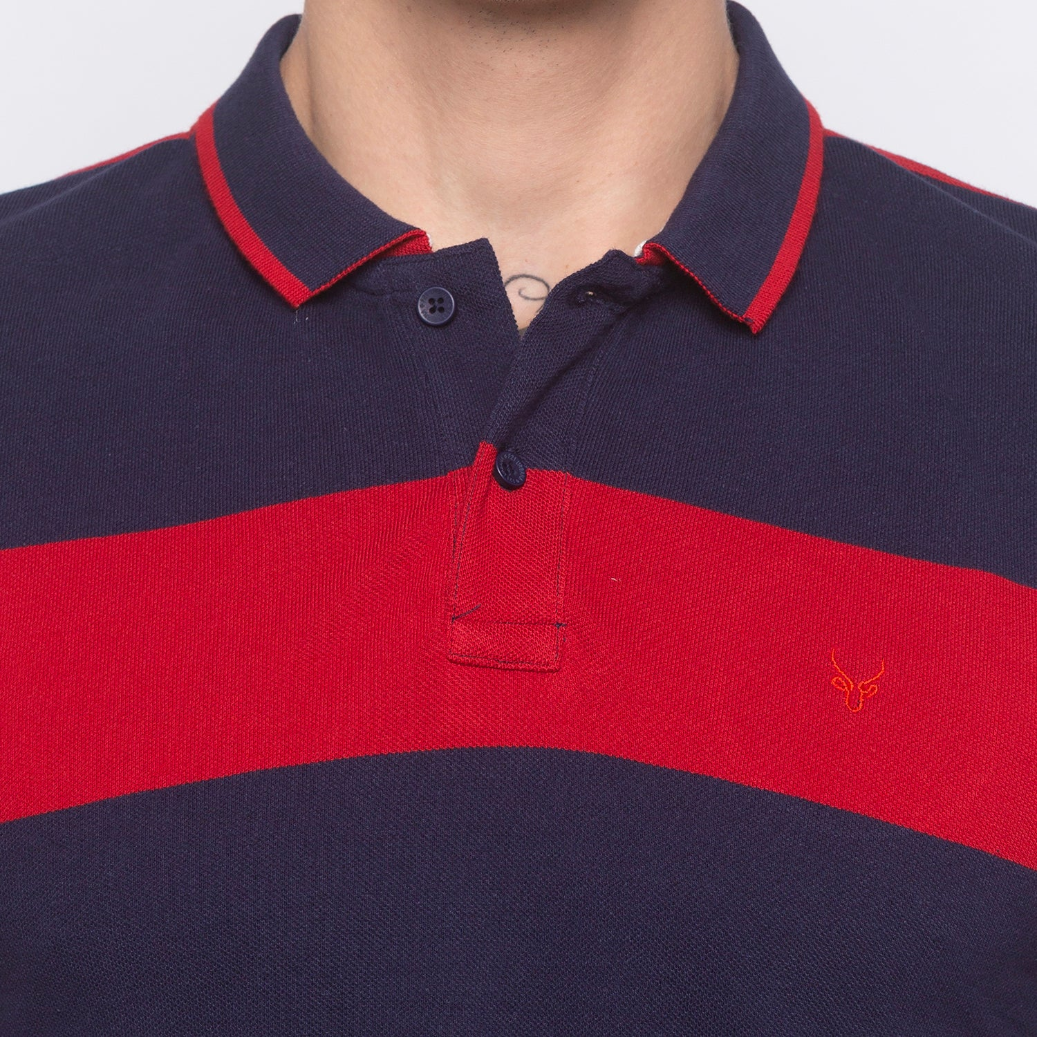 Striped Polo Collar Navy Blue T-shirt-5